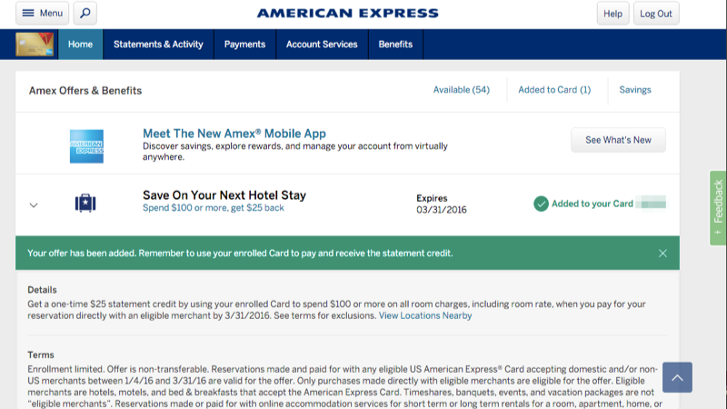 Amex offers view