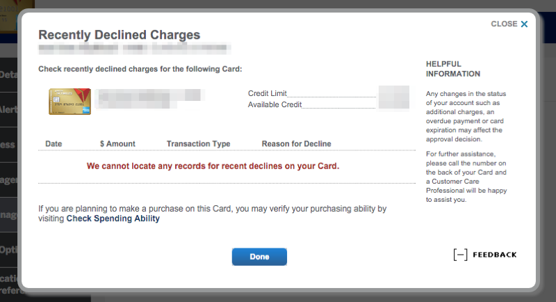 Amex declined charges view